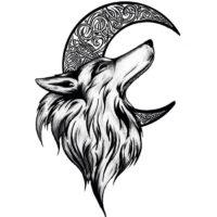 Lobo y Luna - Diseño para tatuaje